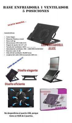Liquidación Base Enfriadora Laptop 5 Posiciones 1 Ventilador